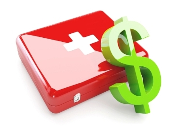 Isolated Aid Kit With Green Dollar Sign