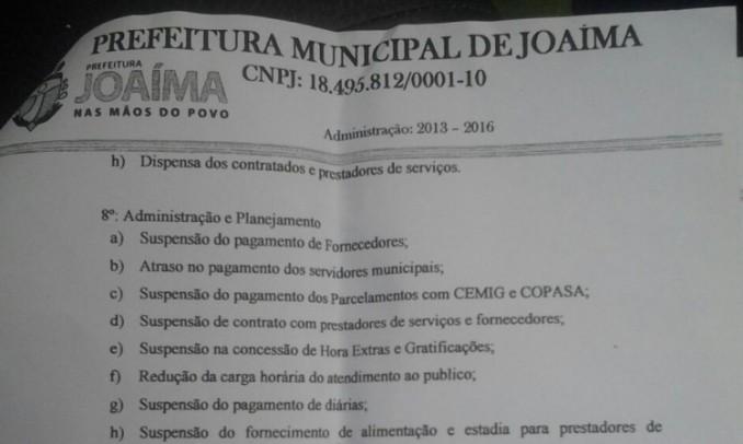 Prefeito de Joaíma decreta calote nas contas da prefeitura