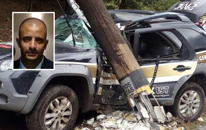 Agente da Polícia Civil morre após colisão de viatura em poste. Dois presos e outro policial ficaram feridos