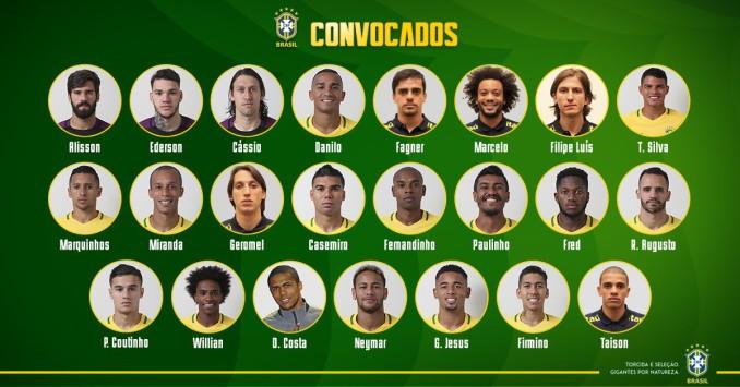 Confira a lista de convocados da Seleção Brasileira para a Copa do ... 337e1d37f4226